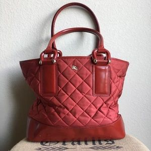 👜 Authentic Cherry Red Quilted Burberry Tote 👜